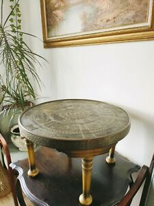 Austrian Secessionist Egyptian Revival Brass and Wood Coffee Table early 20th c