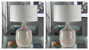 """PAIR FELIPE UPSCALE MODERN 29"""" CERAMIC TABLE LAMP UTTERMOST 28205"""