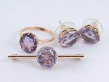 Amethyst Jewellery Set Earrings Ring Brooch 9ct Rose Gold Ladies 375 R72