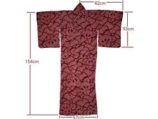 Vintage Red Silk Shibori Tachibana Orange Blossom Design Kimono Nov17-C
