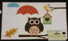"""PRINTED KITCHEN RUG (non skid latex back) (17"""" x 28""""), OWL WITH UMBRELLA by BH"""
