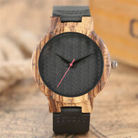 Cool Wooden Bamboo Black Genuine Leather Men's Analog Quartz Wrist Watch Gift
