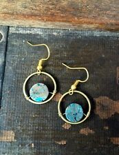 Summer Trend Turquoise Calsilica Gemstone Bead Circle Brass Gold Hook Earrings