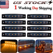 "8x 3.8""Smoked Amber Led Marker Indicator Lights Trailer Truck Clearance Light"