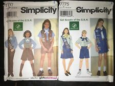 1996 Simplicity 7777,7775 Girl Scout and Brownie Uniforms sz 6-14