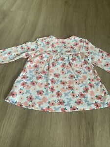 Two M&S Baby Girls Pinky Peach Long Sleeved Tops 6-9 Months
