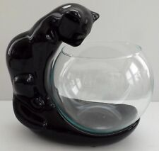 Haeger Pottery Black Glazed Cat Stand with Glass Fishbowl