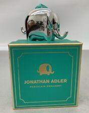 Jonathan Adler Silver Elephant Christmas Porcelain Ornament