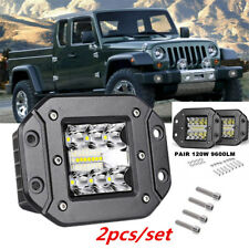 2x Flush Mount Bumper Reverse CREE Led Flood Light Pods Fog Lamps For ATV Pickup