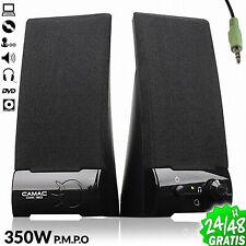 2x Altavoces Multimedia PC Ordenador Portatil DVD 350Watt Amplif 10W Jack 3.5 mm