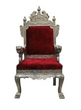 Vintage Design Wood Metal Coated Throne Chair Furniture Collectible Decor US636M