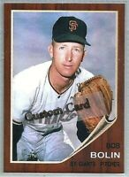 BOB BOLIN SAN FRANCISCO GIANTS 1962 STYLE CUSTOM MADE BASEBALL CARD BLANK BACK