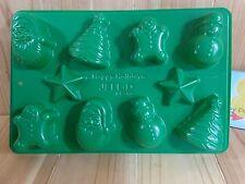 HAPPY HOLIDAYS Jello Jiggler Mold Green 10 Shapes 1 Sheet Christmas