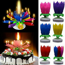 6Color Blossom Lotus Flower Rotating Musical Birthday Cake Candle Magic Party