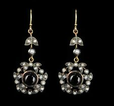 Cabochon Garnet Diamond and Pearl Drop Dangle 18ct Gold Earrings Victorian Style