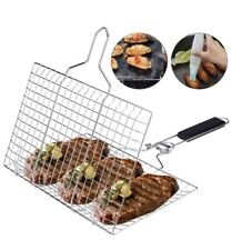 Grill Basket Grilling Basket with Removable Handle for Vegetables Steak Shrimp M
