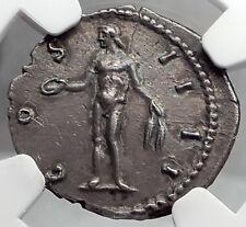 ANTONINUS PIUS 149AD Rome Genius Spirit Ancient Silver Roman Coin NGC AU i59800