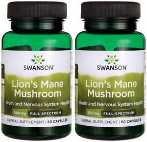 Lion's Mane Mushroom 500mg 120 Caps Hericium Erinaceus Help Brain Mental + Bonus