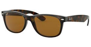 RAY BAN New Wayfarer LIGHT HAVANA BROWN Sunglasses RB2132 710 Brown Lens 52mm