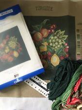 1995 - DMC Creative World Printed Needlepoint Canvas  - Wreath of Fruit Kit