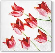 RED TULIPS 20 Lunch Paper Napkins Decoration DECOUPAGE Floral