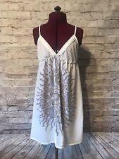 Kimchi and Blue Dress Sz M Ivory sheer dress feather print adjustable straps UO