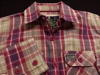 SuperDry Womens Medium Long Sleeve Button-Down Multicolor Plaid Check Shirt