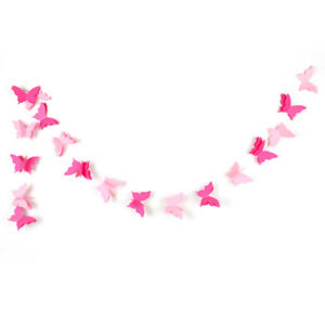 3D Hanging Butterfly Paper Garland Chain for Wedding Birthday Party Decorations