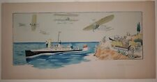 """Gamy Original lithographic print poster """"Les Grand Sports"""" 1909 early aviation"""