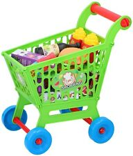 Kid's Mini Shoppng Trolley Cart Playset Toy 35 Piece Set Plastic Fruit & Food