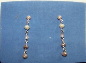 Vintage AVON Pink & Taupe Earrings (ONLY) w/ Surgical Steel Posts *New* 2001