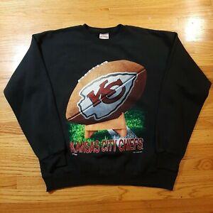 Vtg 1994 Kansas City Chiefs NFL Black Crewneck Sweatshirt Men's Size XL USA