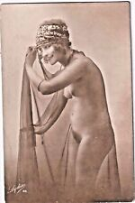 France 1920 Nude Photograph-Tall, Slender Beauty in Transparent Veil Carte Lydia