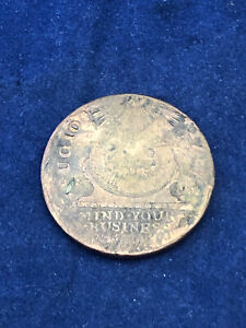 1787 Fugio Cent Colonial Copper Coin Possible Double Stamp Reverse