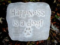 "Happiness is a dog plaque mold plaster concrete mould 10"" x 9"" x 3/4"" thick"