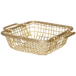 """10"""" Gilded Metal Aluminium Square Woven Wire Display Basket Bowl with Handles"""