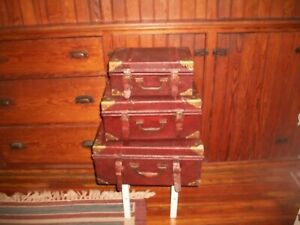 Vintage Wooden Suitcases LOT OF THREE/STACKING/NESTING/STORAGE/SHABBY CHIC
