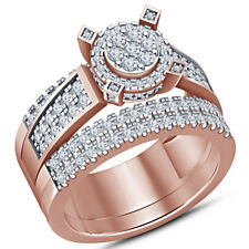 2.60Ct Round-Cut Vvs1/D Diamond Bridal Set Engagement Ring 10K Rose Gold Finish
