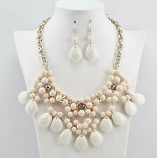Gold Toned Ivory Colored Tear Drop Design Necklace With Matching Earrings