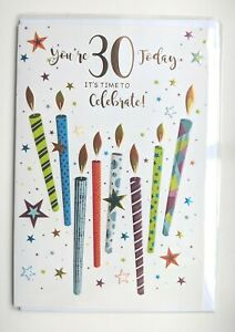 Age 30 Birthday Card - SIMON ELVIN - Mens Male Gentlemen Candles 30th Thirty