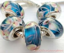 5PCS silver hallmarked Single Core Murano Glass Beads fit Charms Bracelet AOC042