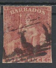 BARBADOS 1858 BRITANNIA 6D IMPERF NO WMK USED