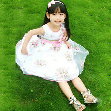 Kids Big Girls Party Flower Wedding Dress Pink Bow White Children Clothing 9-10T