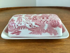 Churchill Willow Rosa Pink Red Butter Dish Covered England ~ Excellent Condition