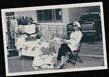 Vintage Photograph Woman Having Sale in Front of House Purses Clothes