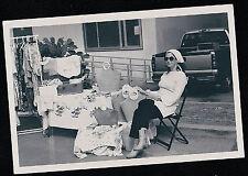 Vintage Antique Photograph Woman Having Sale in Front of House Purses Clothes