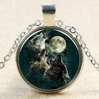 New!  Vintage Three Wolf Cabochon Tibetan Silver Glass Chain Pendant Necklace
