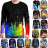 Mens 3D Printed T-shirt Tops Sweatshirt Round Neck Long Sleeve Casual Blouse Tee
