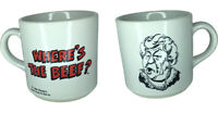 """Where's The Beef"" Wendy's Old Fashioned Hamburgers Ad Coffee Cup Vintage 1984"
