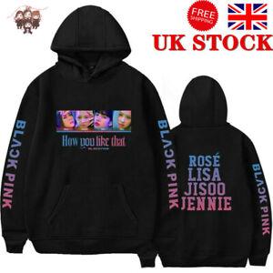 Hot KPOP BLACKPINK Women Hoodie Hooded Pullover Jacket Sweater Sweatshirt Black